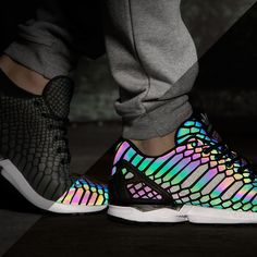 Walk in the light with adidas' groundbreaking, flash-sensitive XENO technology — now on the ZX Flux.