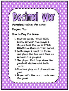 "FREE MATH LESSON - ""Decimal War Card Game"" - Go to The Best of Teacher Entrepreneurs for this and hundreds of free lessons. http://thebestofteacherentrepreneurs.blogspot.com/2011/12/free-math-lesson-decimal-war-card-game.html"