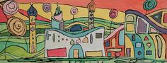 Hundertwasser Houses - outline glue/paint mix filled with watercolour yr 8-9