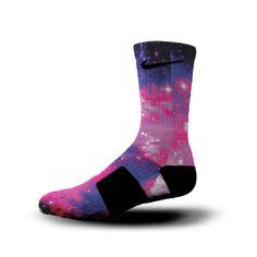 HoopSwagg Bubblegum Galaxy Custom Nike Elite Socks Small Multi