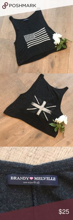 Flag Crop Top - In Great Condition! Soft cotton blend top.  Great with jeans or shorts!  Front/U..S Flag.  Back/England Brandy Melville Tops Crop Tops