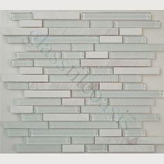 Elida Ceramica 12in x 13in Glass Mosaic White Bricks Clear