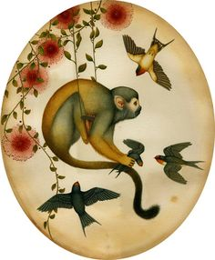 la bizrre singerie....lindsey carr.... I think this syle could be adapted for a very classy mural.... love the foliage... the birds... even the spider monkey... just minus the carnage..lol.... but I crave to see this in a room...