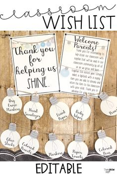 Welcome back to school season with this farmhouse style light bulb classroom wish list display, perfect to enlist your parents for donations during meet the teacher day, meet the teacher night, open house and during parent teacher conferences. Classroom Signs, Classroom Community, Kindergarten Classroom, School Classroom, Classroom Decor, Classroom Supplies, Future Classroom, Classroom Donation Ideas, Kindergarten Open House Ideas