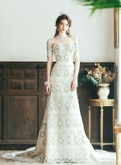 This fitted gown from Clara Wedding featuring regal pattern is the definition of timeless elegance! Classy Wedding Dress, Wedding Bridesmaid Dresses, Wedding Frocks, Wedding Gowns, Evening Dresses, Prom Dresses, Formal Dresses, Pre Wedding Photoshoot, White Dress