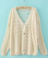 Beige Single Breasted Hollow Lace Sweater $30.40  #SheInside #hipster #love #cute #fashion #style #vintage #repin #follow