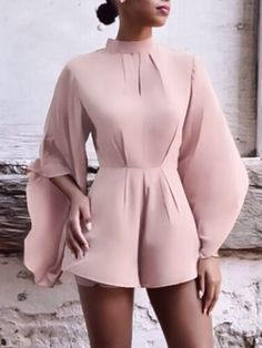 Autumn Sexy Backless Batwing Sleeve Romper Womens Dress Suits, Short Sleeve Dresses, Dresses With Sleeves, Elegant Outfit, Minimalist Fashion, Daily Fashion, Dress To Impress, Cute Dresses, Womens Fashion