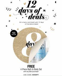 Avon's 12 Days of Deals! Free 4-piece Skin So Soft set with your $55+ order! Visit, ValerieLauback.AvonRepresentative.com and use code: SOSOFT