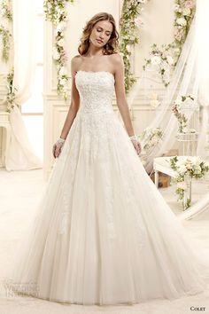 colet bridal 2015 style 55 coab15222iv strapless romantic a line lace wedding dress