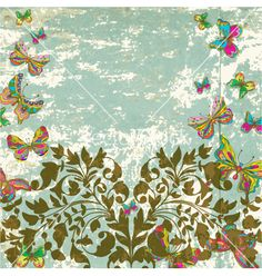 Vintage floral ornament with butterflies vector on VectorStock®
