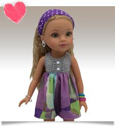 Lauryce from New Orleans, USA. Hearts for Hearts doll. #wavyhoneyblondehair #goldengreeneyes