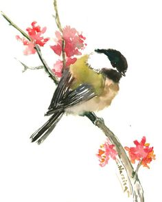 Chickadee and flowers one of a kind original watercolor painting bird art sage brown  small original painting gift bird lover chickadee art by ORIGINALONLY on Etsy