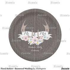 Floral Antlers + Barnwood Wedding Paper Plate