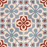 Des touches de gris et rouge dans les carreaux de ciments Tile Patterns, Textures Patterns, Laundry Craft Rooms, Encaustic Tile, Blue Tiles, House Entrance, Vinyl Flooring, Mosaic Art, Red And Blue