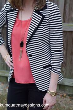 November 2015 Stitch Fix detail shot of 41 Hawthorn Benson Striped Blazer, coral top, Theory black pants, Kendra Scott Rayne necklace #stitchfix #kendrascott