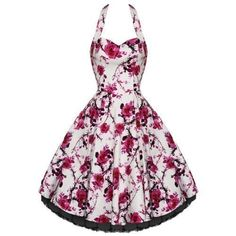 WHITE PINK FLORAL 50S SWING PARTY PROM TEA SUN DRESS [ Was £44.99 - Now On Sale At Amazon(UK & Ireland) £28.00 ]