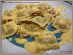 750 grammes vous propose cette recette de cuisine : Ravioles safranées au thon-tomates séchées & sauce Feta-poivrons. Recette notée 4/5 par 3 votants