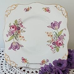 BEAUTIFUL Royal Tuscan Montrose Square Cake Plate, Square Cookie Plate, Flowers on Pink, Gold Rim, Scrollwork (1970's) - FREE SHIPPING