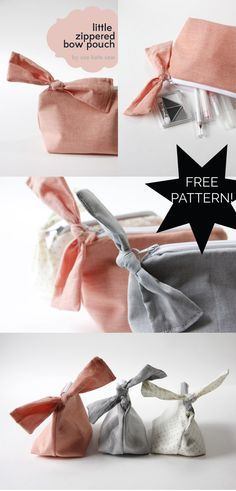 zippered bow pouch pattern + tutorial - see kate sew - excelente acabamento no zíper