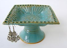 Blue Earring Keeper Ceramic Jewelry Bowl by sheaclay on Etsy