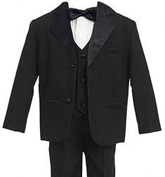 Baby Boys - Kids BLACK 5 Piece Deluxe Tuxedo - Suit TODDLER Sizes >>> Click here for more details @