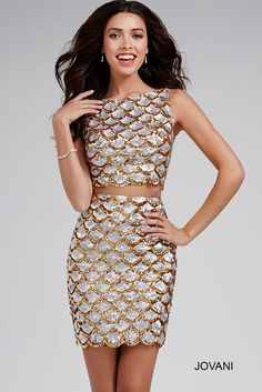 Look like a star in this #jovani 32689 two piece sequined dress.