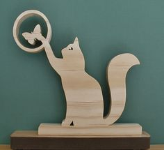 Cat And Butterfly Desk Sign Cut On Scroll Saw 8 Wide x 7.80 High 3/4 Thick Select Premium Pine For Strength and Durability. Base Has Non- Mar