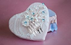Something Blue, Swarovski Lace Hair comb & 14k Rosegold Earrings, Bridal comb blue flowers, vintage style, bridal accessories.