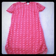 B. Darlin lace dress size 1/2 Beautiful floral lace. Worn twice. Still in great condition. Coral color. B. Darlin Dresses
