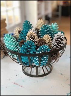 Painted Festive Pinecone Basket/Winter Table Decor/Pinecone Table Decor/Pinecone Centerpiece - Decoration Fireplace Garden art ideas Home accessories Kids Crafts, Fall Crafts, Holiday Crafts, Diy And Crafts, Decor Crafts, Kids Diy, Wood Crafts, Pinecone Centerpiece, Christmas Centerpieces
