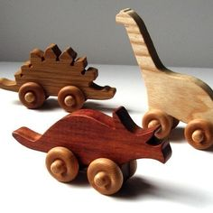 wooden dinosaurs by happy squash toys