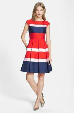 silk blend fit & flare dress