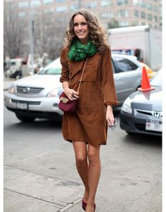 Harper's Bazaar Street Style  TV journalist Louise Roe looks fantastic in brown suede and accents that pop.