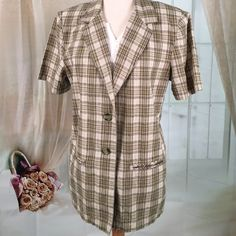 Sag Harbor Plaid Short Sleeved Summer Blazer Today, featuring in Kaki Jo's closet is this very nice short sleeved summer plaid blazer.  Great for business wear.  New condition, never been worn, no tags.  Size 12.  Note: does not include white shirt. Sag Harbor Jackets & Coats Blazers