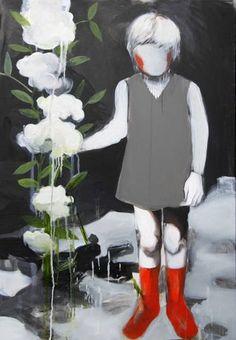 "Saatchi Art Artist Hanna Ilczyszyn; Painting, ""Girl with a flower (SOLD)"" #art"