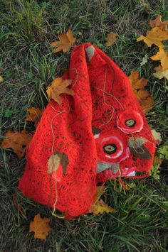Red wool scarf decorated with textile flowers poppies by Yaga, $85.00