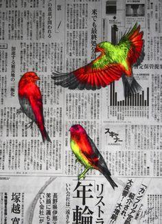 Louise McNaught, art, illustration, mixed media, animals