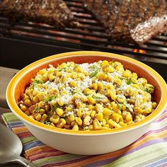 Mexican Street Corn Salad: Mexican corn salad recipe uses frozen corn flavored with cumin and chili powder combined with crema, cilantro, lime juice and Cotija cheese for an easy side