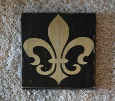 11 x 11 Custom wood sign, home deocr, wall art, black gold, Fleur De Lis, SAINTS