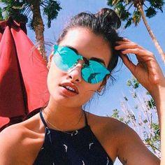 Vintiage Single Nose Bridge Round Shield Lens Sunglasses #blue #mirrored #sunglasses