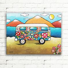 VW Painting Van Wall Art Original Painting on by hjmArtGallery