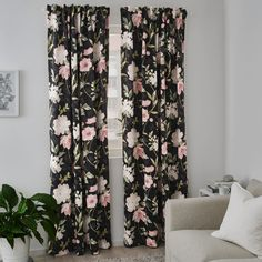 ROSENMOTT black, floral patterned, Block-out curtains, 1 pair, cm. With block-out curtains you won't get your sleep disturbed by moonlight and street lights - or be woken by the sun when you want to sleep in late. The heavy fabric falls softly and evenly. Ikea Curtains, Floral Curtains, Sheer Curtains, Black Curtains Bedroom, Patterned Curtains, Block Out Curtains, Floral Bedroom, Flower Curtain, Curtain Patterns