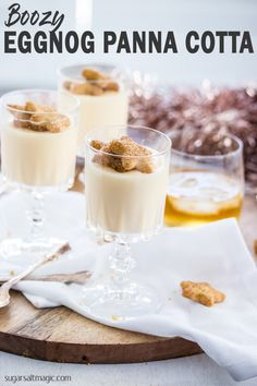 Christmas desserts don't get much easier than this Boozy Eggnog Panna Cotta recipe. When you're cooking for a crowd, 3 ingredient easy panna cotta and 10 minutes is all you need. Holiday Pies, Holiday Baking, Christmas Cooking, Christmas Desserts, Family Christmas, Baking Recipes, Dessert Recipes, Mousse, Cupcakes With Cream Cheese Frosting