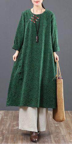 Vintage Pure Color Cotton Maxi Dresses For Women 6095 # Fitness mulher Women's Dresses, Cotton Dresses, Hijab Fashion, Fashion Dresses, Hijab Style, Sequin Party Dress, Fashion 2020, Designer Dresses, Marie