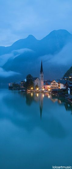 ~~Hallstatt Morning ~ lake view, foggy morning at the iconic landmark, Austria such beautiful dream-like scenery. Places Around The World, Oh The Places You'll Go, Places To Travel, Travel Destinations, Places To Visit, Austria Destinations, Wonderful Places, Beautiful Places, Peaceful Places