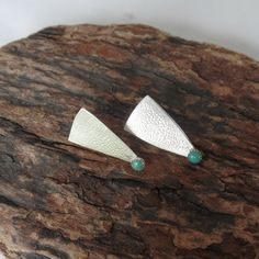 Green turquoise and sterling post earrings by RustyWing on Etsy