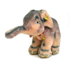 charming vintage steiff elephant   ...   cosy trampy  looking for a new home