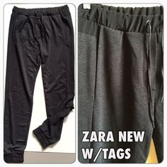 "Zara NEW W/TAGS knit joggers lounge pants Gray Very cool Zara loungy joggers pants.  Soft and beautiful dark Gray knit, with black rayon trim at waistband.  • Elastic waistband with drawstring (faux fly) • Front sean pockets • Rouched elastic hem • Size marked L but Zara do run smaller, so it really fits like a medium.  • 30"" inseam • waist stretch up to 38"", (so make sure it goes over you hips before you buy.)  Brand new with tags, in perfect condition.  From a smoke/pet free home.  