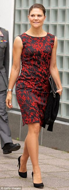 Stylish: 38-year-old Crown Princess Victoria of Sweden took the next place on the list and...