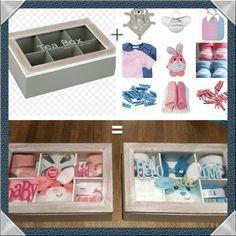 Leuk babyshower cadeau!    theedoos ( action ) +   kleine babyspulletjes   = voila KLAAR!     Kan ook goed als huwelijks-en themacadeau,   gewoon de cadeautjes erop aanpassen. Door Foliantje
